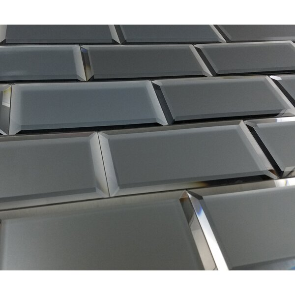 Echo 3 x 6 Matte Mirror Glass Field Tile in Graphite by Abolos