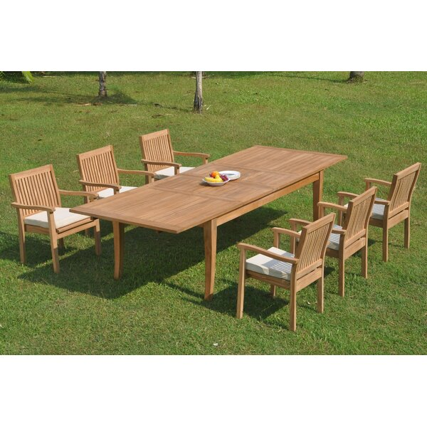 Quesada 7 Piece Teak Dining Set by Rosecliff Heights