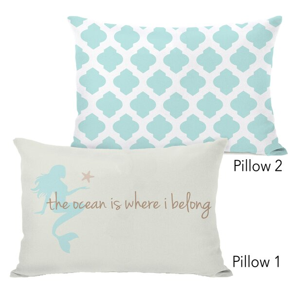 Coral The Ocean Is Where I Belong and All over Moroccan Aqua 2 Piece Lumbar Pillow Set by Highland Dunes