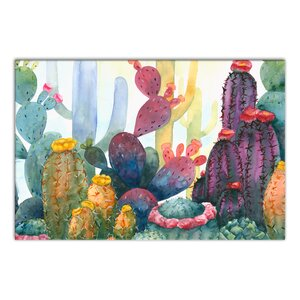 'Colorful Blooming Cactus' Watercolor Painting Print on Canvas by Bungalow Rose