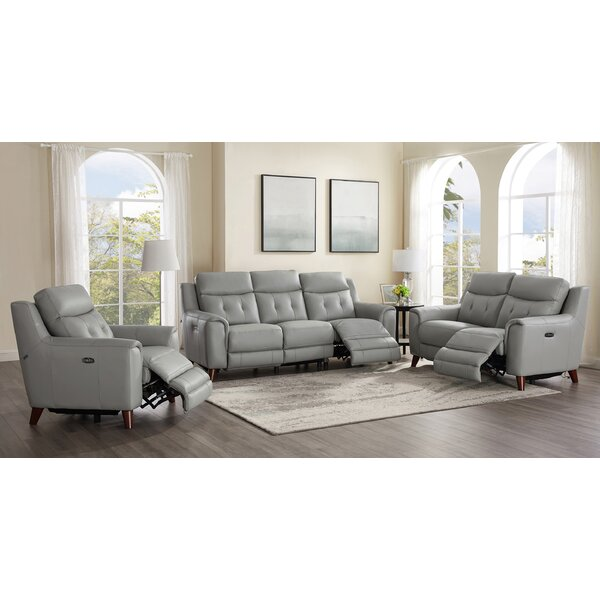 Tortuga Power 3 Piece Leather Reclining Living Room Set