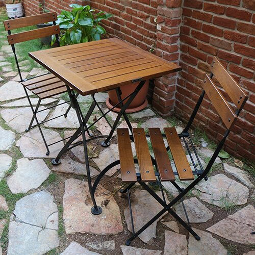 European Café Folding Patio Dining Chair (Set of 2) by Furniture Designhouse