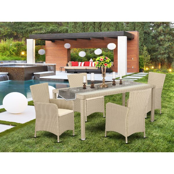 Peaslee Outdoor Backyard 5 Piece Dining Set with Cushions by Wrought Studio