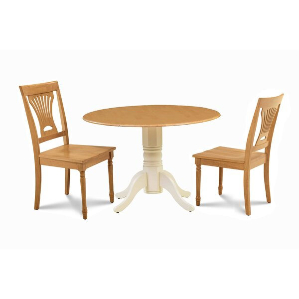 Troy 3 Piece Drop Leaf Solid Wood Dining Set by Millwood Pines Millwood Pines