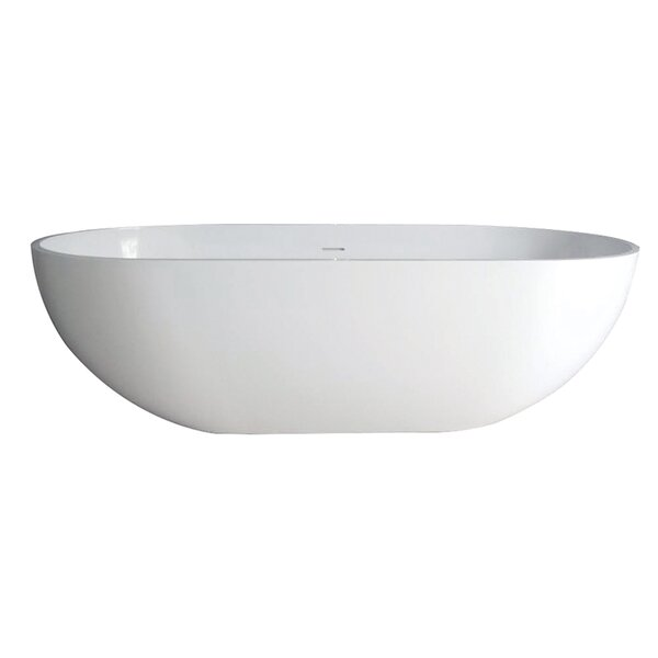 Aqua Eden Bryanna Solid Surface 70.06 x 34.63 Freestanding Soaking Bathtub by Kingston Brass