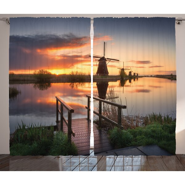Leisha Graphic Print & Text Semi-Sheer Rod Pocket Curtain Panels (Set of 2) by Latitude Run