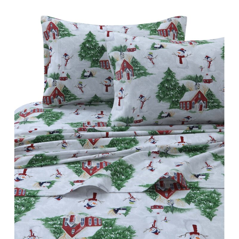 The Holiday Aisle 170 Gsm Printed Flannel Extra Deep Pocket 100 Cotton Sheet Set Reviews Wayfair