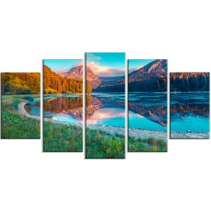 'Beautiful Swiss Lake Obersee' 5 Piece Photographic Print on Wrapped Canvas Set by Design Art