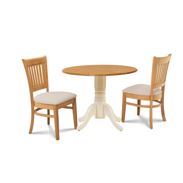 Viggo 3 Piece Drop Leaf Solid Wood Dining Set by Millwood Pines