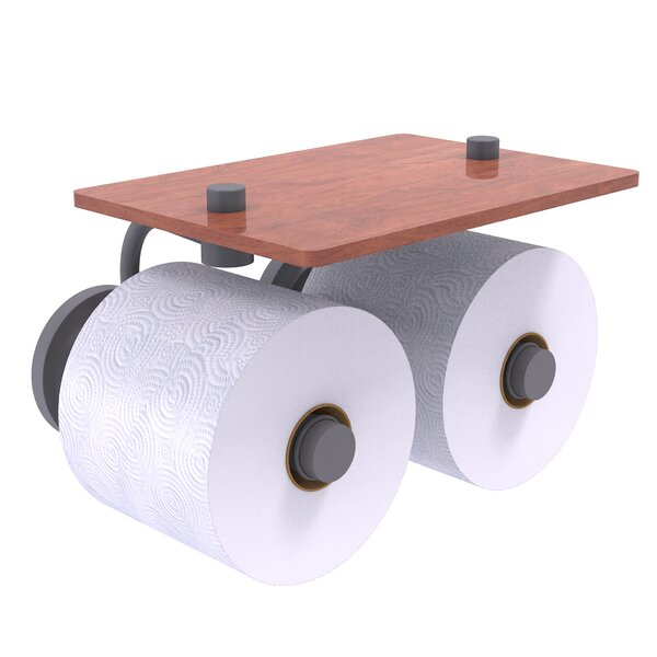Leamore Wall Mount Toilet Paper Holder with Wood Shelf