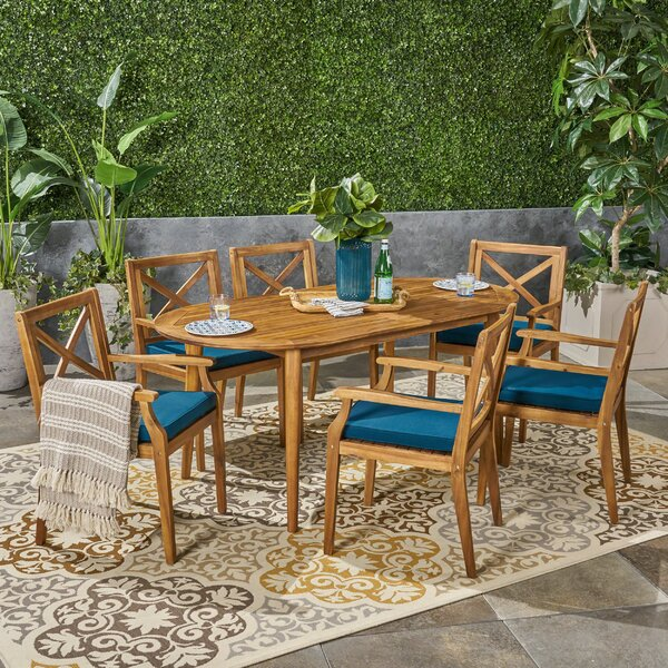 Uhrichsville Outdoor 7 Piece Dining Set with Cushions by Bungalow Rose