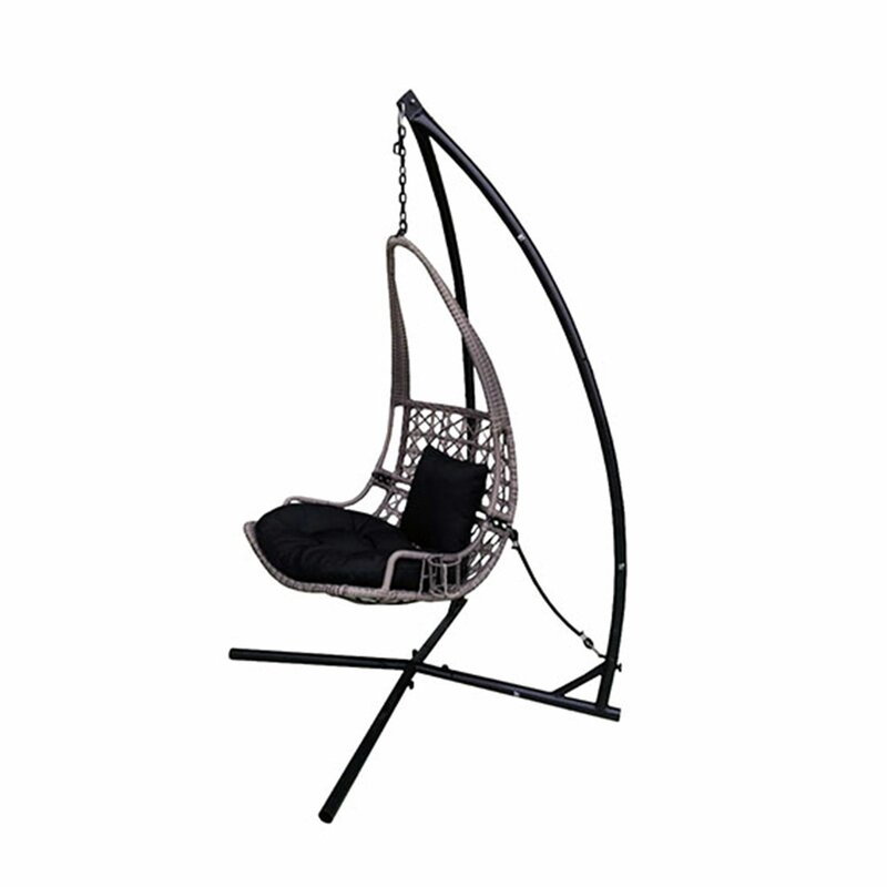 Newlon Wicker Rattan Hanging Swing Chair With Stand