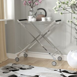 Hurley Modern Design Steel Glass Bar Cart