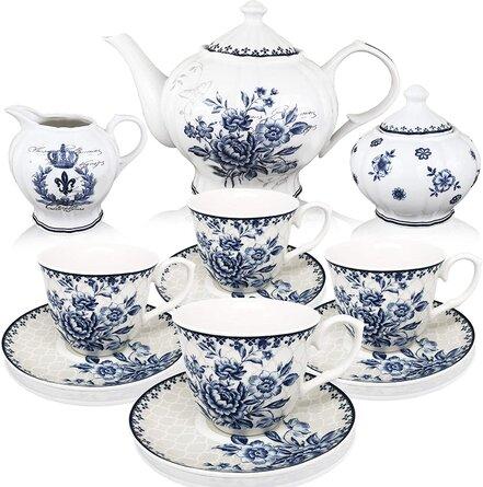 BT?T - Tea Set, China Tea Set, Tea Service, Tea Cups (8Oz), Creamer And Sugar Set, Tea Cups And Saucer Set, Tea Pot, Tea Set For Adults, Tea Cups Set Of 4, Blue Dream Tea Set, Porcelain Tea Set, Cups