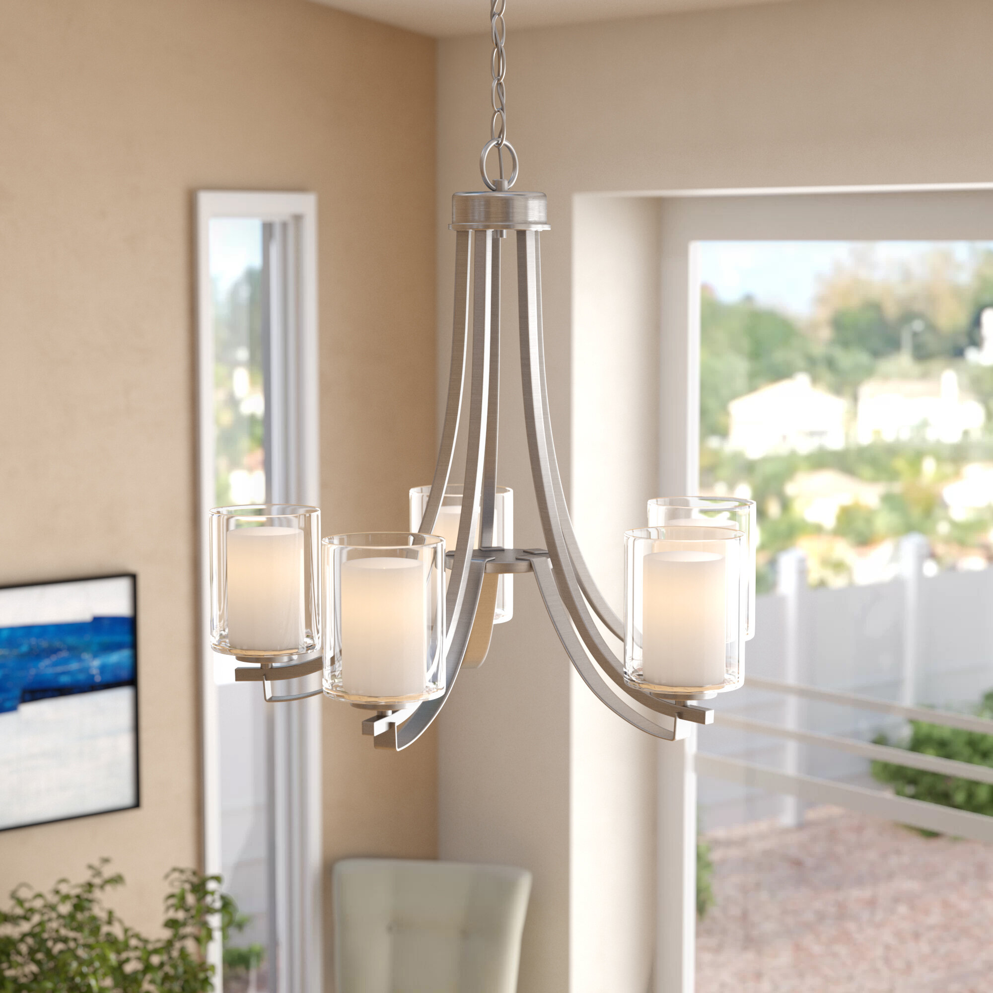Demby 5 Light Shaded Chandelier