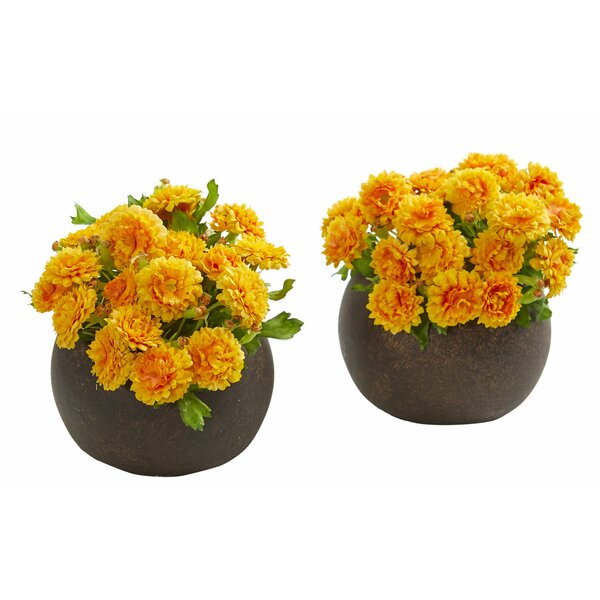2 Piece Artificial Japanese Centerpiece in Planter Set by Charlton Home