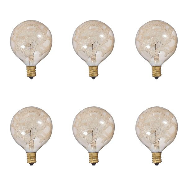 25W E12 Dimmable Incandescent Globe Light Bulb Amber (Set of 6) by Bulbrite Industries