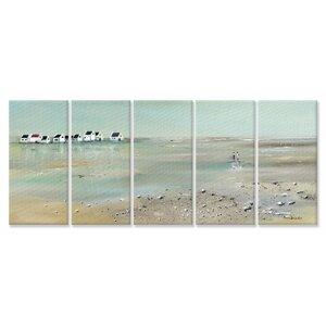 'A Stroll Down on the Beach' 5 Piece Canvas Wall Art Set by Beachcrest Home