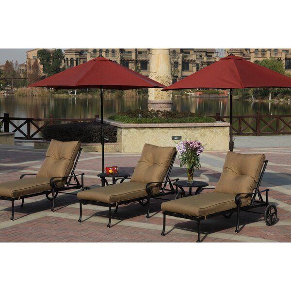 Carlitos Reclining Chaise Lounge with Cushion (Set of 2)
