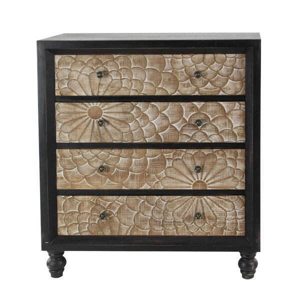 Hartl Wood 4 Drawer Accent Cabinet by Bungalow Rose Bungalow Rose