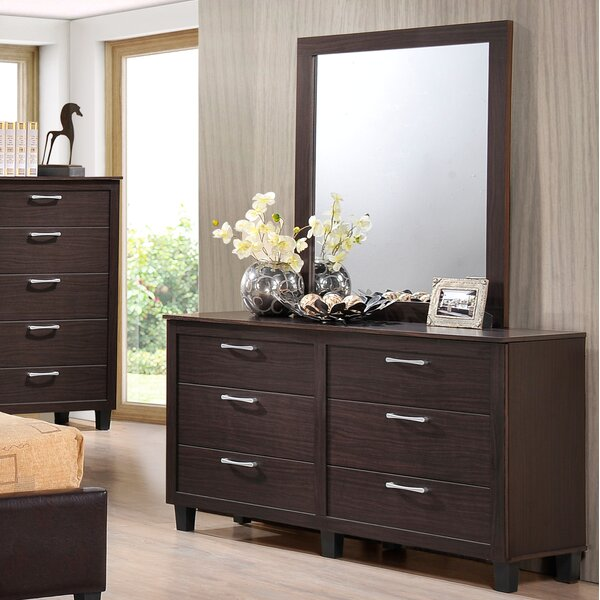 Amelie 6 Drawer Double Dresser With Mirror By Latitude Run