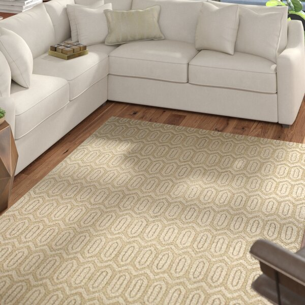 Adonis Hand-Woven Light Gold Area Rug by Mercury Row