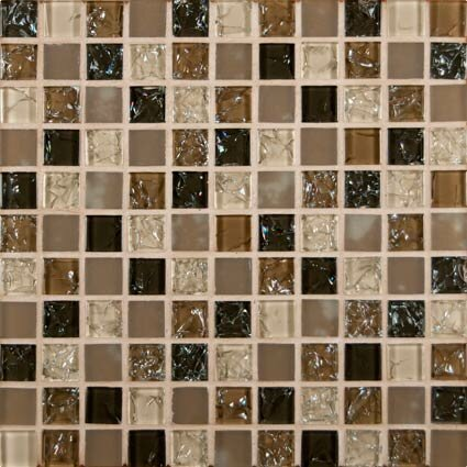 Pacific Dunes Mounted Blend Glass Mosaic Tile in Brown by MSI