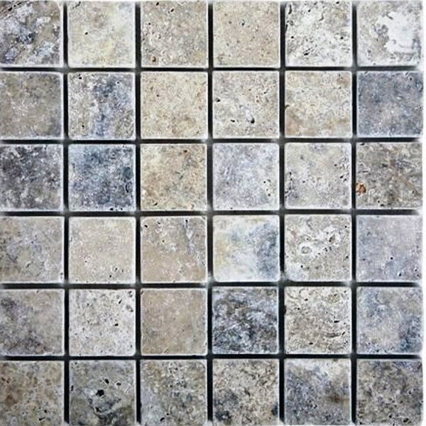 2 x 2 Travertine Mosaic Tile in Silver by Epoch Architectural Surfaces