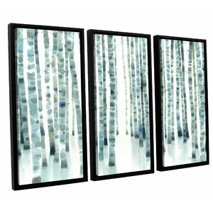 Neutral Birch Grove 3 Piece Framed Painting Print on Wrapped Canvas Set by Ivy Bronx