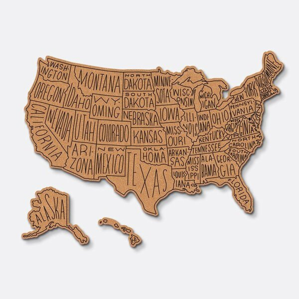 Corkboard Maps Hand Lettered US Routed 22 x 35 by Easy, Tiger
