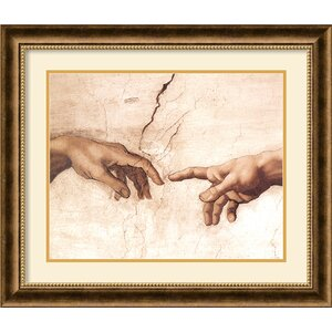'The Creation of Adam' by Michelangelo Buonarroti Framed Painting Print by Amanti Art