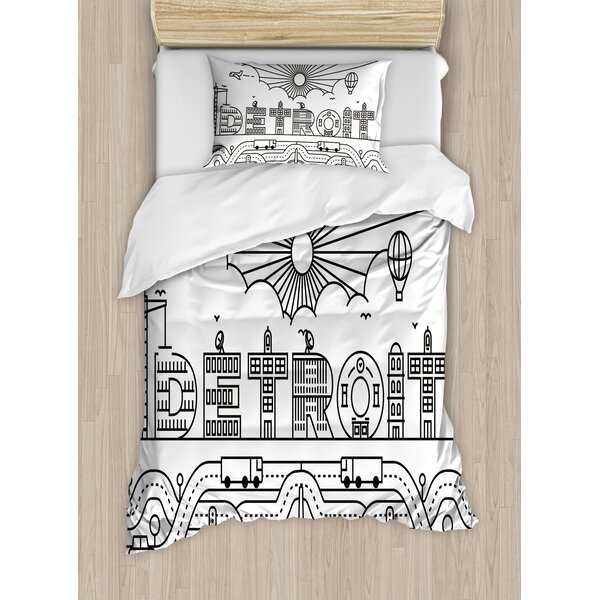 City Typography with Building Letters Transportation Air Balloon Duvet Set by East Urban Home