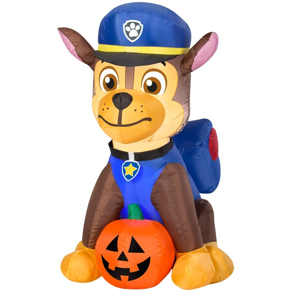 Paw Patrol Chase SM Nick Inflatable with Pumpkin by The Holiday Aisle