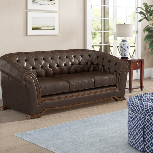 Recommend Saving Barkell Leather Sofa by Canora Grey by Canora Grey