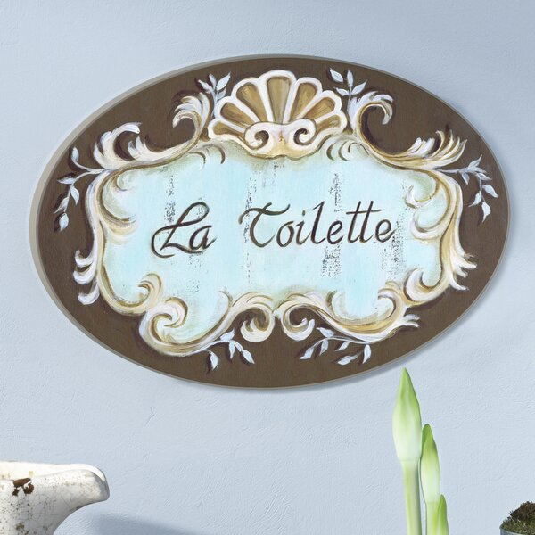 La Toilette Crest Top Oval Bathroom Wall Plaque by Lark Manor