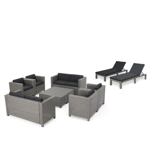 Furst Outdoor 10 Piece Rattan Sofa Seating Group with Cushions by Wade Logan
