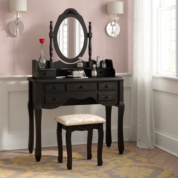 Circleville Vanity Set with Mirror by Rosdorf Park