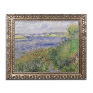 The Banks of the Seine Champrosay by Pierre Renoir Framed Painting Print by Trademark Fine Art