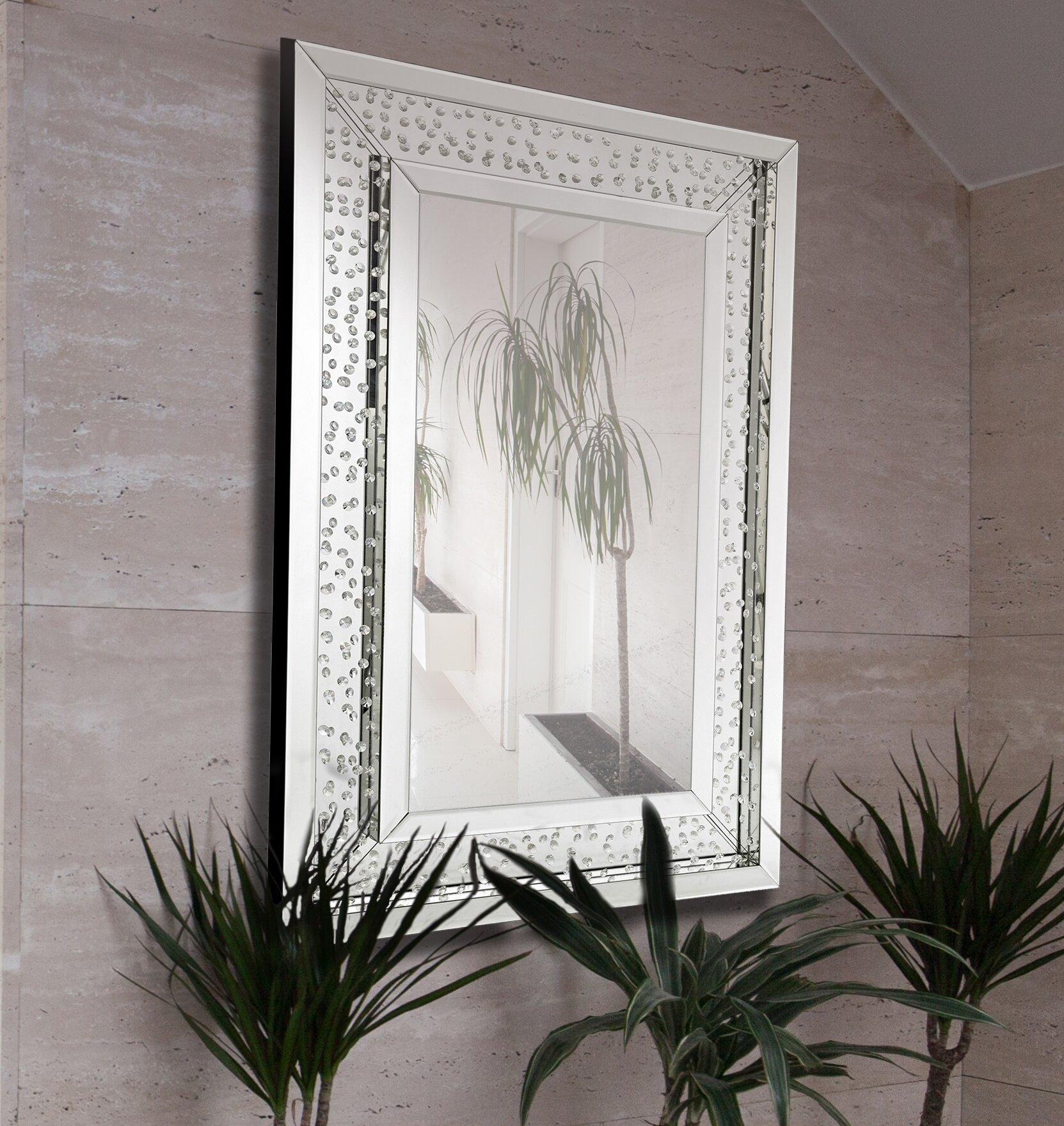 Majestic Mirror Rectangular Floating Crystals Beveled Panel Framed ...