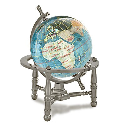 Gemstone Globe Opalite Ocean with Nautical 3-Leg S