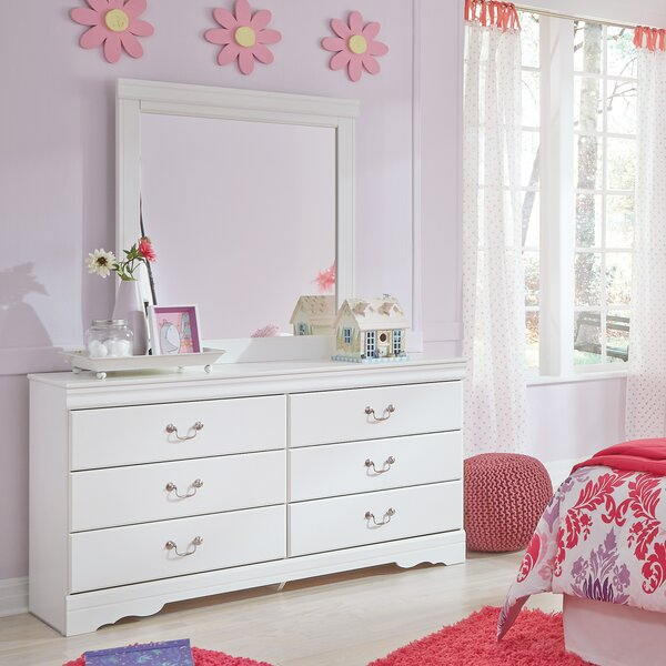 Aeroome 6 Drawer Double Dresser with Mirror by Grovelane Teen