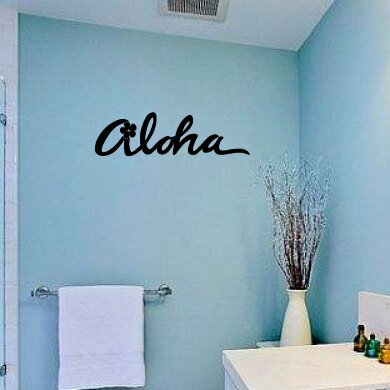Ridgewood Aloha with Hibiscus Vinyl Graphic Word Wall Decal by Bay Isle Home