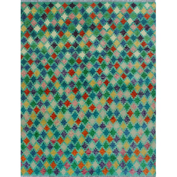 One-of-a-Kind Millender Kyalamboka Hand-Knotted Wool Blue/Green Are Rug by Bloomsbury Market