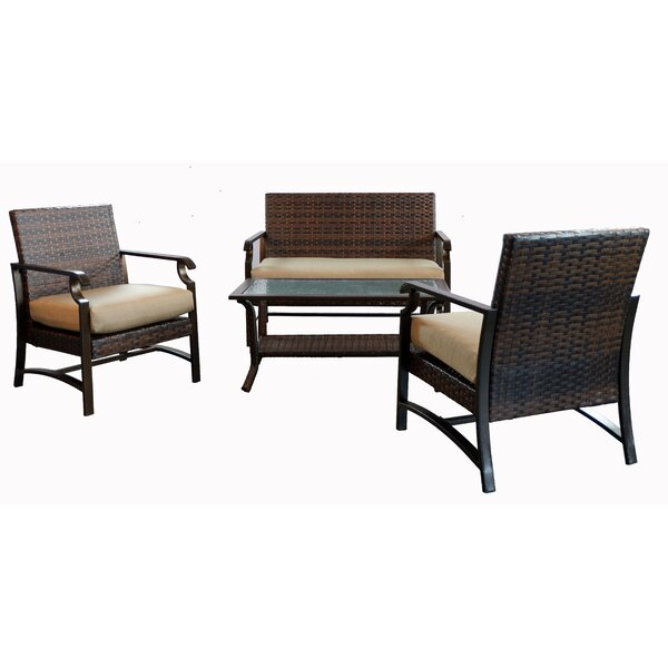 Espen 4 Piece Rattan Sofa Seating Group with Cushion by Alcott Hill