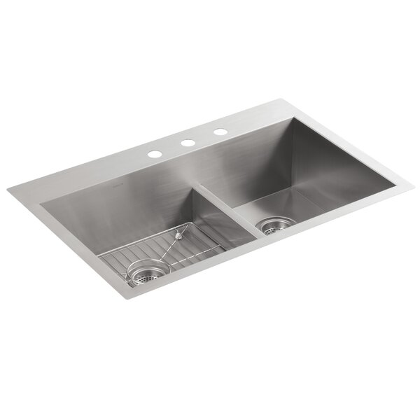 Vault 33 L x 22 W x 9-5/16 Smart Divide Top-Mount/Under-Mount Large/Medium Double-Bowl Kitchen Sink with 3 Faucet Holes by Kohler
