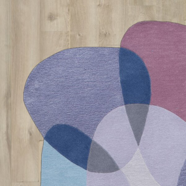 Kaiser Hand-Tufted Blue/Purple Area Rug by Wade Logan