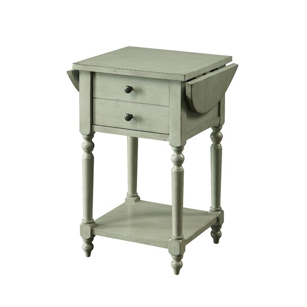 Kayli Drop-leaf End Table with Storage by August Grove August Grove