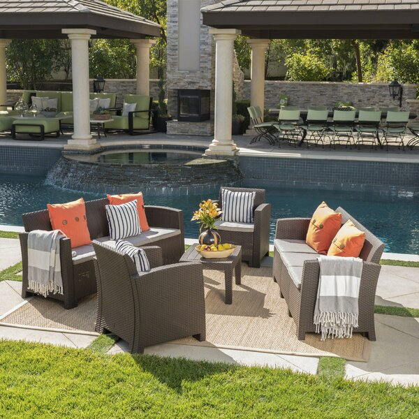 Bartz 5 Piece Rattan Sofa Seating Group with Cushions by Highland Dunes