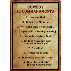 'Warning Cowboy 10 Commandment' Textual Art on Metal by River's Edge Products