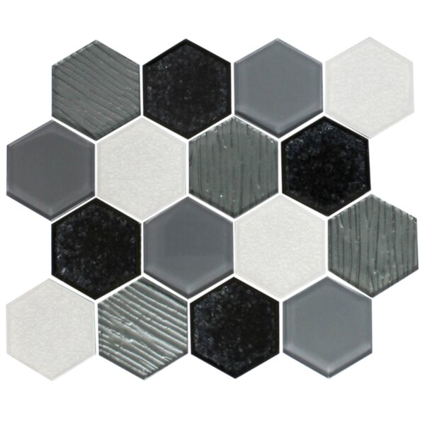 Crackle Hexagon Mix Random Sized Glass Mosaic Tile in White/Black by Susan Jablon